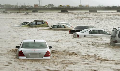 Ôtô đỗ bên sông bị cuốn trôi khi bão Chaba đổ bộ vào Hàn Quốc ngày 5/10. Ảnh: Yonhap.