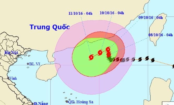 Vị trí và dự báo đường đi của cơn bão số 6. Nguồn: Trung tâm dự báo khí tượng thủy văn Trung ương.