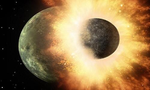 Va chạm lớn cách đây 4,45 tỷ năm dẫn đến sự ra đời của vàng bạc trên Trái Đất. Ảnh minh họa: EarthSky.