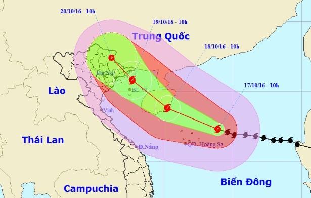 Vị trí và dự báo đường đi của cơn bão số 7. Nguồn: Trung tâm dự báo khí tượng thủy văn Trung ương.
