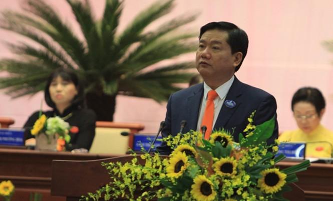 Bí thư Đinh La Thăng phát biểu chỉ đạo tại phiên khai mạc Đại hội Đại biểu Phụ nữ TPHCM lần thứ X nhiệm kỳ 2016-2021. Ảnh: Quốc Ngọc.