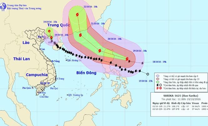 Vị trí và dự báo đường đi của bão số 7 và siêu bão Haima. Nguồn: Trung tâm dự báo khí tượng thủy văn Trung ương.