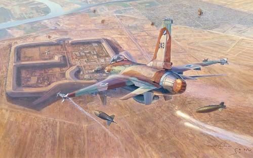 Tiêm kích F-16 ném bom nhà máy Orsirak. Hình minh họa: David Icke.