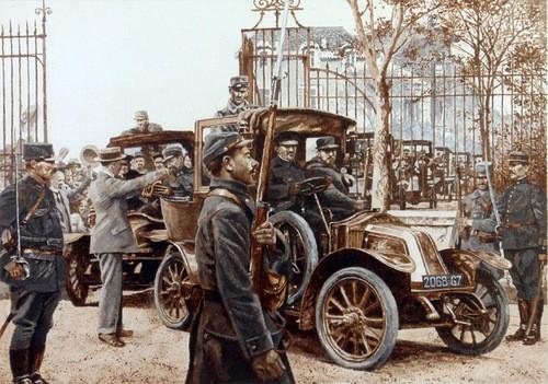 Tranh vẽ về đoàn taxi Marne. Ảnh: Blogspot.