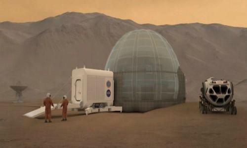 Hình ảnh minh họa ý tưởng xây nhà băng trên sao Hỏa của NASA. Ảnh: NASA Langley.