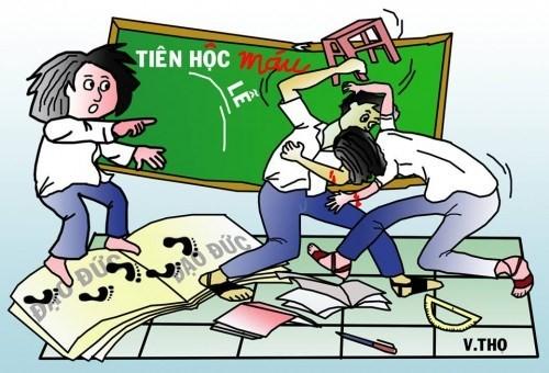 Tình trạng bạo lực học đường gia tăng một phần nguyên nhân là do thầy cô có cách ứng xử không đúng chuẩn mực sư phạm. Ảnh minh họa.