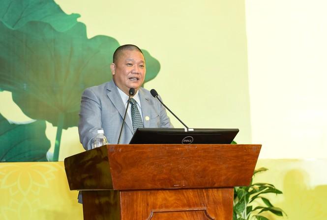 Ông Lê Phước Vũ, Chủ tịch Tập đoàn Hoa Sen phát biểu tại Đại hội cổ đông.