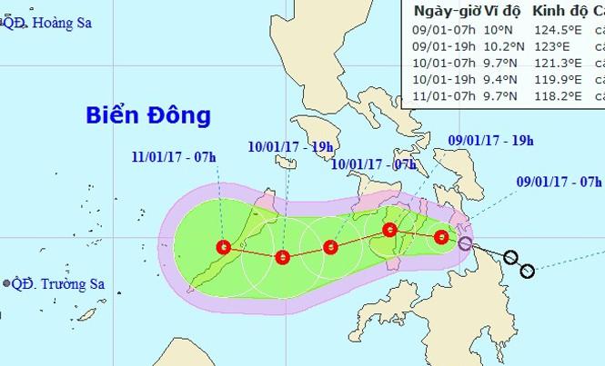 Vị trí và hướng di chuyển của áp thấp nhiệt đới. Ảnh: NCHMF.