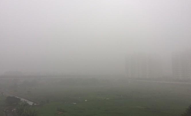 Cầu Thăng Long, Hà Nội lúc 8h15 sáng nay (10/1)