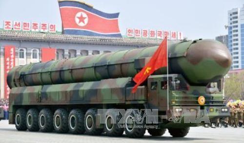 ên lửa Triều Tiên tại lễ diễu binh kỷ niệm 105 năm ngày sinh cố Chủ tịch Kim Nhật Thành ngày 15/4. Ảnh: Kyodo/TTXVN.