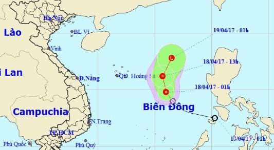 Vị trí và đường đi của áp thấp nhiệt đới. Nguồn: nchmf.gov.vn.