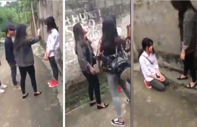 Nhóm nữ sinh cấp 3 liên tiếp đánh đập, mắng chửi và bắt nữ sinh lớp 8 quỳ xuống xin lỗi.