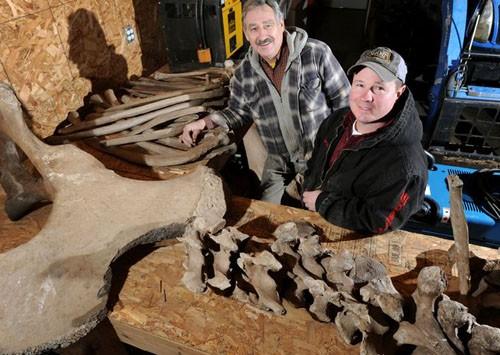 Eric Witzke (trái) và Dan LaPoint cùng những mảnh xương được đào lên từ sân sau nhà.