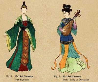 Phỏng họa trang phục của phụ nữ thời Trần. Ảnh: Internet.