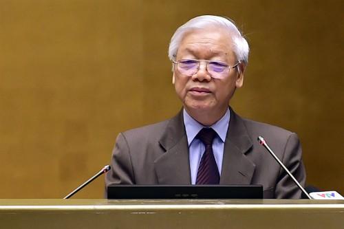 Tổng bí thư Nguyễn Phú Trọng phát biểu khai mạc Hội nghị. Ảnh:VGP