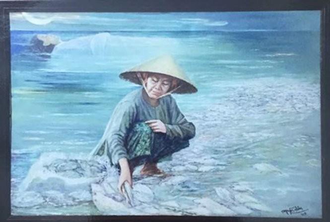 """""""Biển chết"""" của hoạ sĩ Nguyễn Nhân đang bị tạm thu treo ở Hội VHNT tỉnh Trà Vinh và được """"bêu"""" vi phạm bản quyền. Ảnh: Facebook nhân vật"""