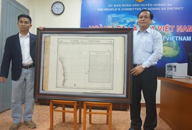 Tấm bản đồ Partie de la Cochichine của Phillipe Vandermaelen mang giá trị pháp lý quốc tế rất cao về chủ quyền được trao tặng cho UBND huyện Hoàng Sa, TP. Đà Nẵng.