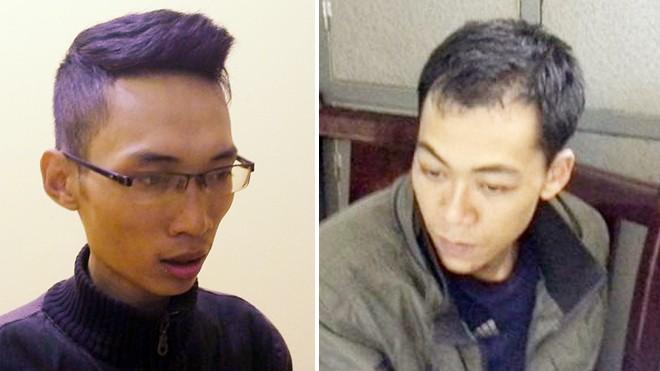 Tuấn Anh và Phong (từ trái qua) tại cơ quan điều tra