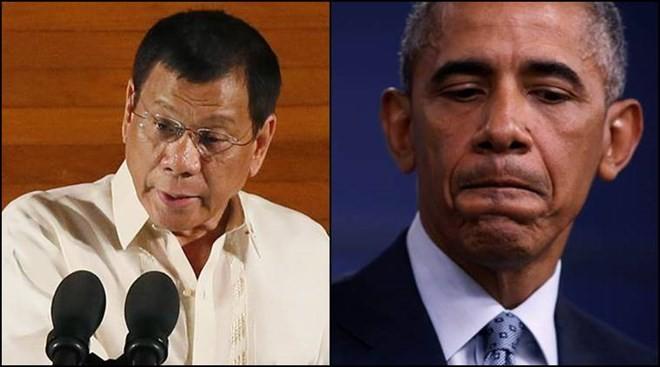 Tổng thống Philippines Rodrigo Duterte (trái) và người đồng cấp Mỹ Obama. (Nguồn: indianexpress.com)