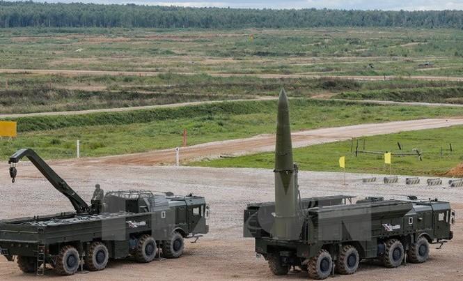 Tên lửa chiến thuật Iskander-M của quân đội Nga trong cuộc diễn tập tại Kubinka, Nga, ngày 9/9. Nguồn: EPA/TTXVN.