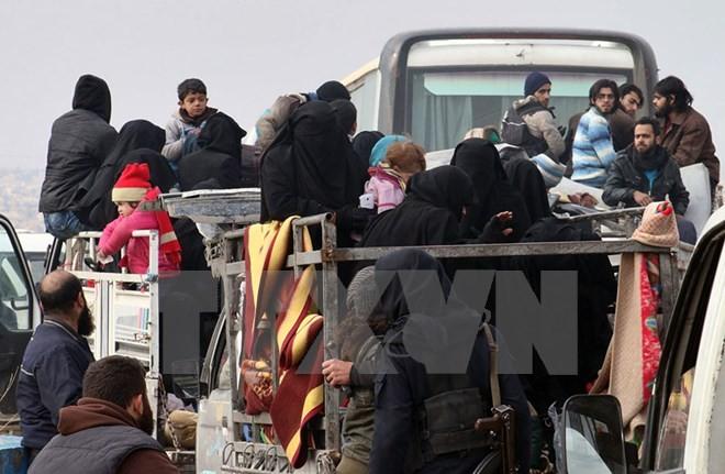 Đoàn xe đưa người dân Syria sơ tán khỏi miền đông Aleppo ngày 16/12. (Nguồn: AP/TTXVN)