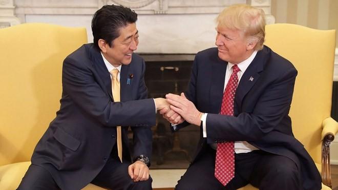 Thủ tướng Nhật Bản Abe bắt tay Tổng thống Mỹ Trump. (Nguồn: Getty Images)