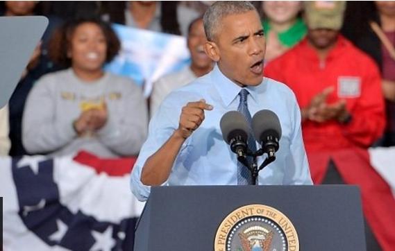 Tổng thống Mỹ Barack Obama trong buổi mít tinh tối 11/10.