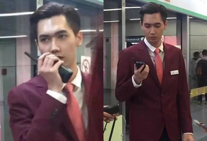 """Vẻ điển trai của nam nhân viên ga tàu điện ngầm Đại học Quảng Tây """"gây bão"""" trong cộng động mạng Trung Quốc."""