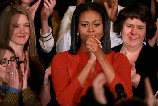 Đệ nhất phu nhân Mỹ Michelle Obama trong bài diễn văn chia tay hôm 6/1 trước khi rời Nhà Trắng. (Ảnh: AFP)