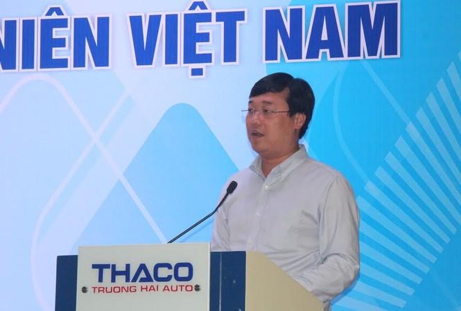 Anh Lê Quốc Phong – Bí thư thứ nhất Trung ương Đoàn TNCS HCM phát biểu tại hội nghị. Ảnh H. Văn