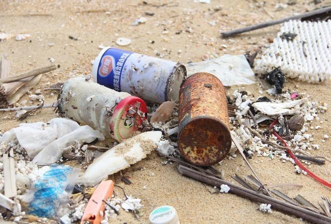 Thu gom rác thải, dầu vón cục dạt vào bờ biển