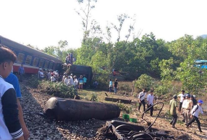 Hiện trường vụ tai nạn. Ảnh: Tổng Cty Đường sắt Việt Nam cung cấp