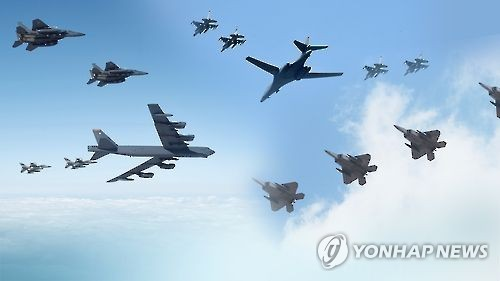 Máy bay ném bom B-1B Mỹ tập trận trên Bán đảo Triều Tiên