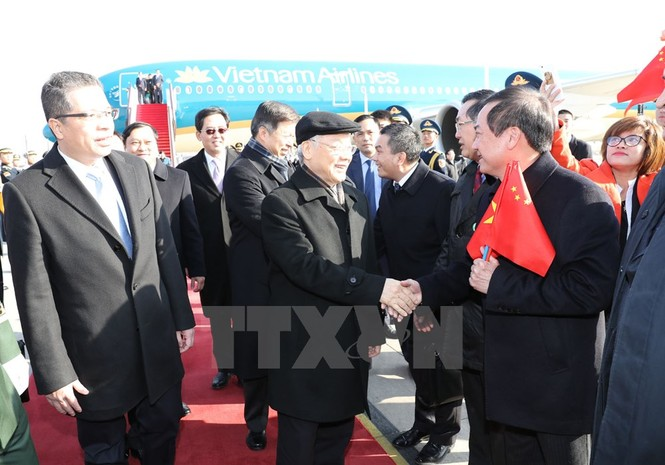 [ẢNH] Lễ đón Tổng Bí thư Nguyễn Phú Trọng ở sân bay Bắc Kinh - ảnh 7