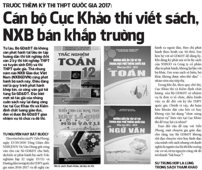 Tin mới vụ 'cán bộ Cục Khảo thí viết sách, NXB bán khắp trường' - ảnh 2