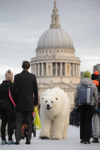 Gấu bắc cực khổng lồ lang thang trên đường phố London - ảnh 2