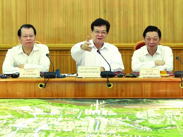 Thủ tướng Nguyễn Tấn Dũng phát biểu ý kiến tại buổi làm việc Ảnh: TTXVN