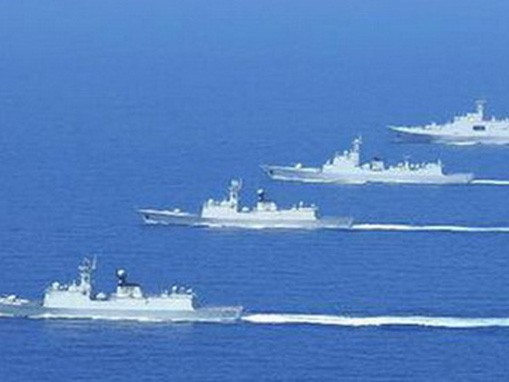 Bốn tàu chiến Trung Quốc hoạt động ở khu vực quần đảo Trường Sa ngày 24/3. Ảnh: xinhuanet.cn