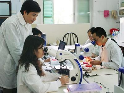 Sinh viên trong giờ thí nghiệm tại ĐH Khoa học Tự nhiên - ĐH Quốc gia Hà Nội. Ảnh: Hồ Thu