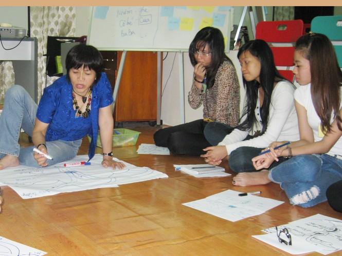 Bạn trẻ trong buổi học cấu tạo bộ phận sinh dục. Ảnh: Lưu Trinh