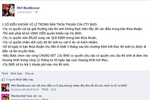 Status trên facebook Nguyễn Cường được đăng tải tối ngày 8-4