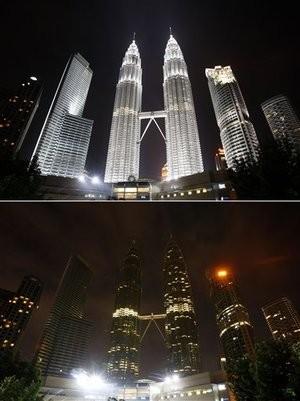 Tòa tháp đôi tại Malaysia cũng tắt điện