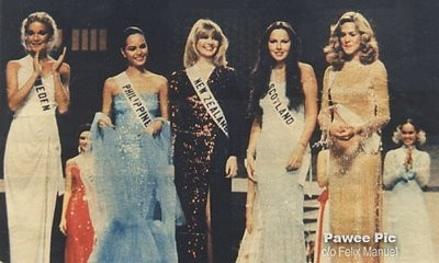 Maria Rosario Silayan-Bailon (váy xanh) tại Hoa hậu Hoàn vũ 1980