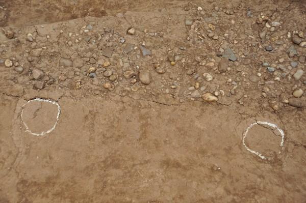 Quan sát tại hiện trường cho thấy, trong các lớp thành được hình thành với nhiều kỹ thuật khác nhau: chỗ thì đầm ngói, chỗ thì dùng đầm chùy, chỗ lại dẫm chân (vết gót chân còn nguyên - ảnh), có chỗ lại còn nguyên những khối đất lớn được cắt kéo..