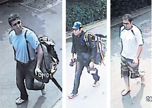 Ba nghi phạm người Iran do camera an ninh ghi lại. Người ở giữa là Saeid Moradi, người bên phải là Mohummad Hazaei. Ảnh: Bangkok Post