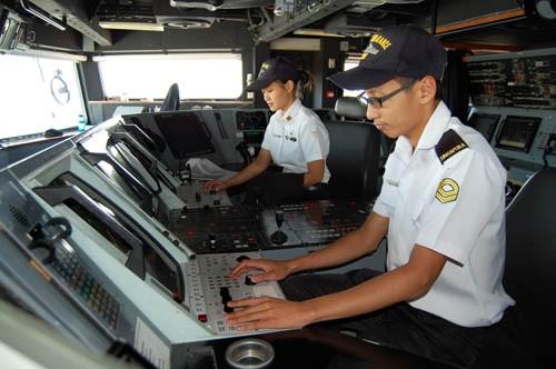 Thủy thủ đoàn trong buồng điều khiển
