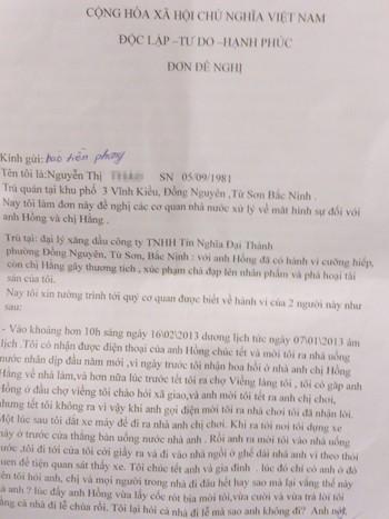 Lá đơn gửi tới báo Tiền Phong