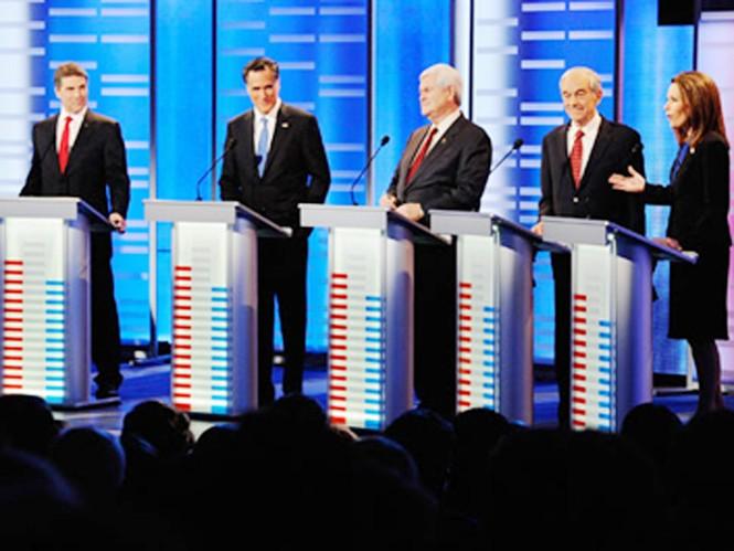 Xuất hiện thường xuyên trên truyền hình là điều không thể thiếu đối với bất kỳ ứng cử viên tổng thống nào (trong ảnh là những ứng cử viên trong cuộc chiến giành quyền đại diện phe Cộng hòa tranh cử với ông Barack Obama năm nay)