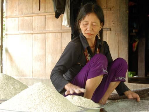 Người dân sàng gạo trước khi phơi để ăn dần