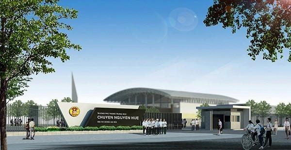 Ngôi trường THPT chuyên Nguyễn Huệ mới với kiến trúc hiện đại bậc nhất Thủ đô dự kiến sẽ được khánh thành vào tháng 4/2013.